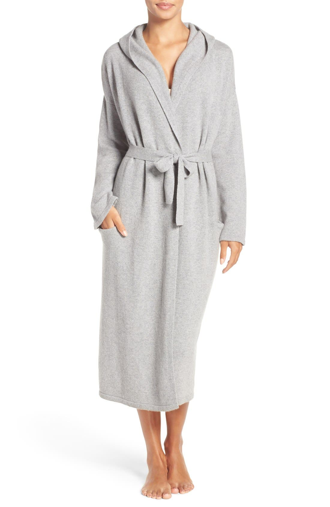 'Evie' Hooded Cashmere Robe,                             Main thumbnail 1, color,                             Grey Heather
