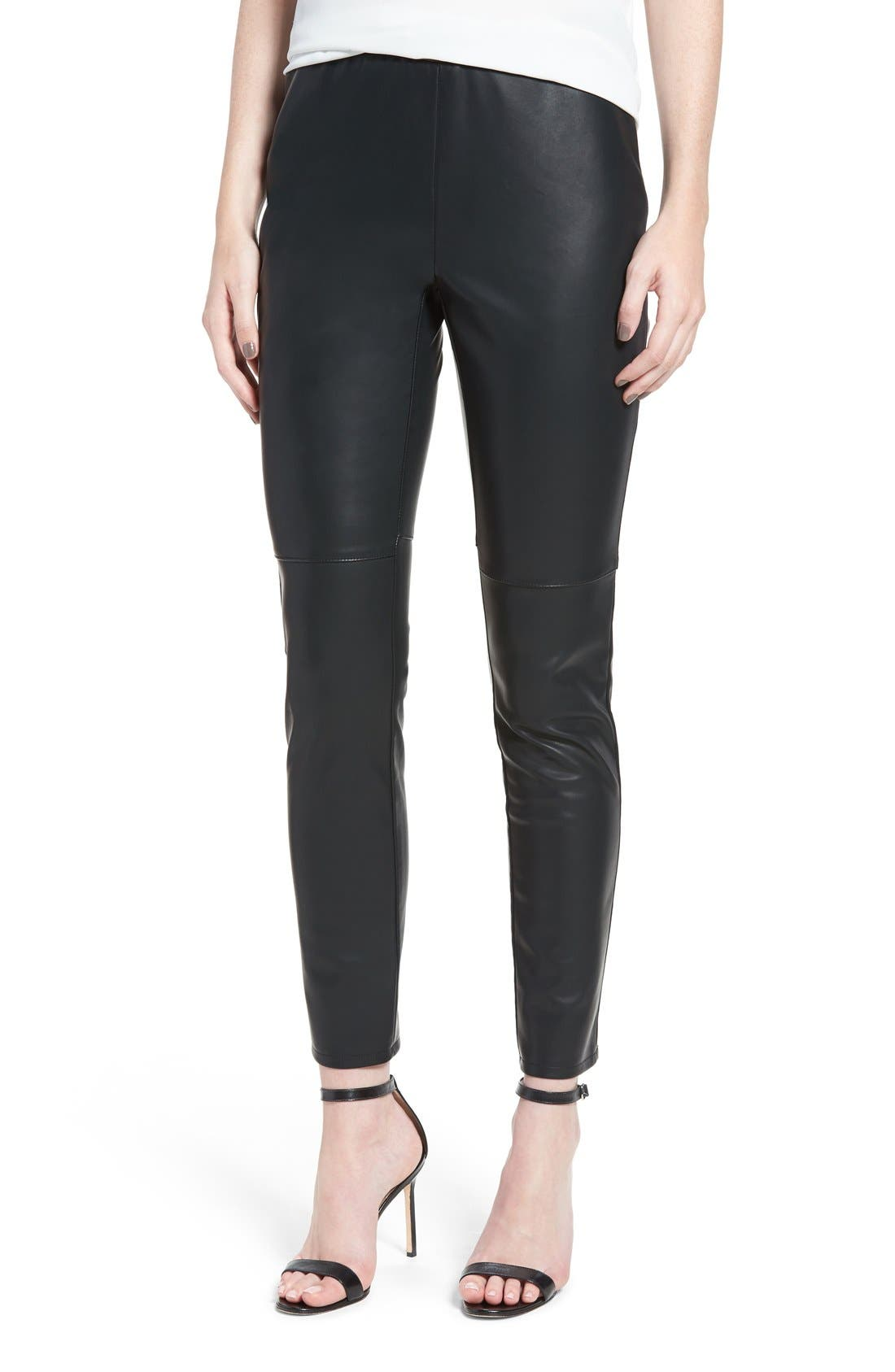 'Liliana' Faux Leather Leggings,                             Main thumbnail 1, color,                             Black