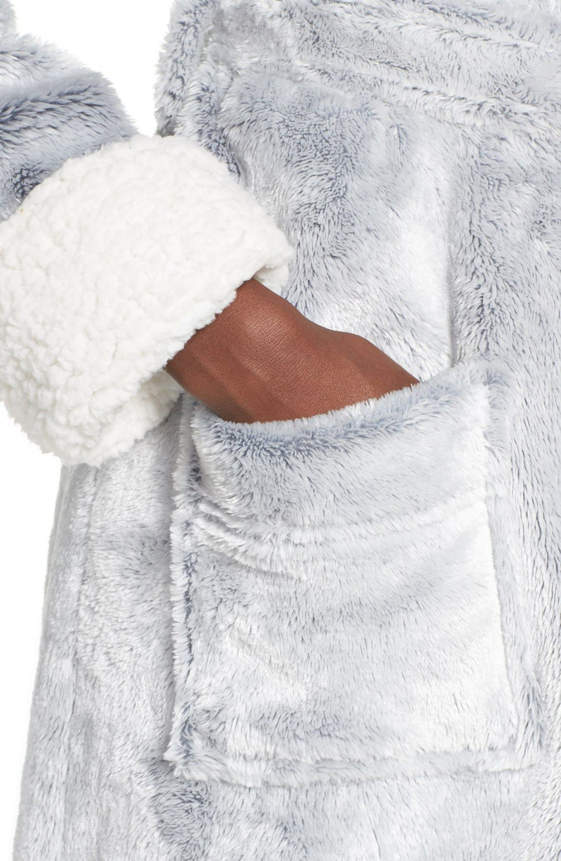 Frosted Plush Robe,                             Alternate thumbnail 4, color,                             Grey