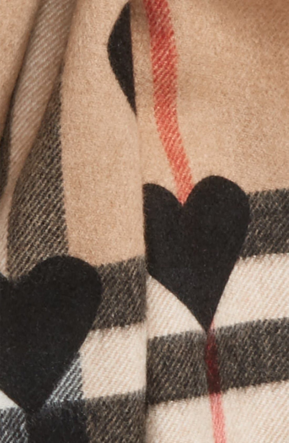 Alternate Image 3  - Burberry Heart & Giant Check Fringed Cashmere Scarf