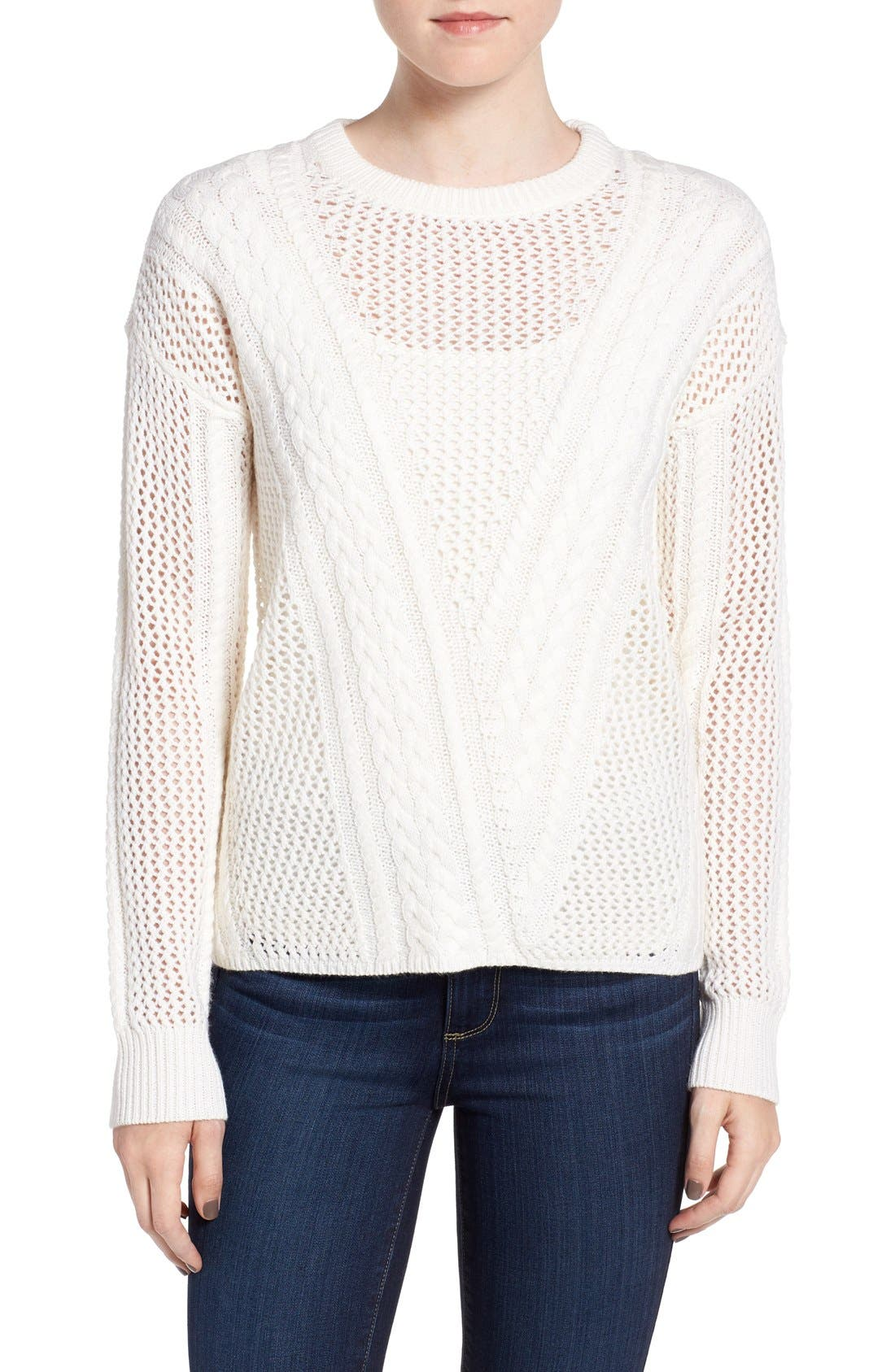 Amory Open Knit Sweater,                             Main thumbnail 1, color,                             Ivory