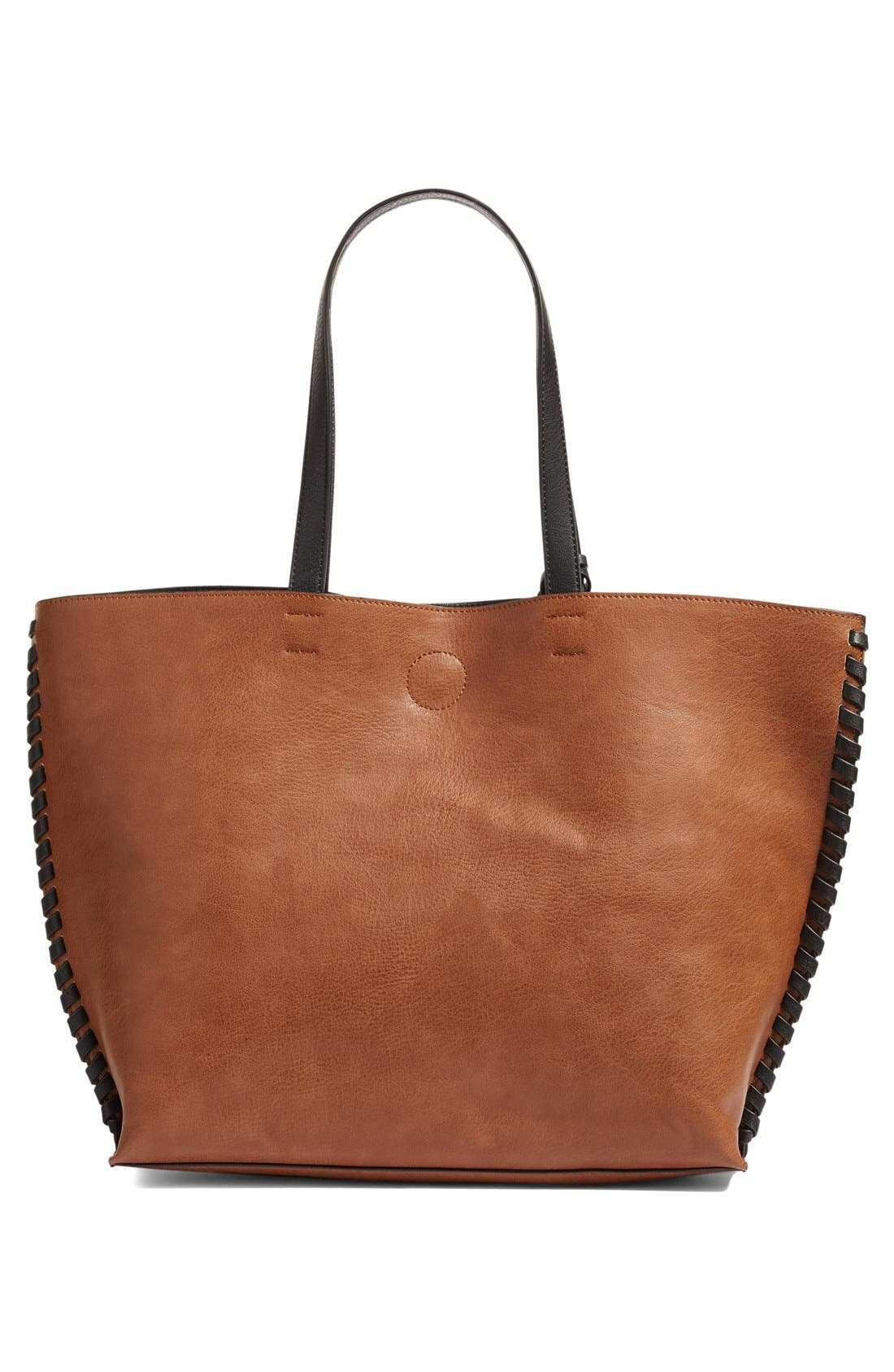 Alternate Image 3  - Phase 3 Whipstitch Tassel Faux Leather Tote