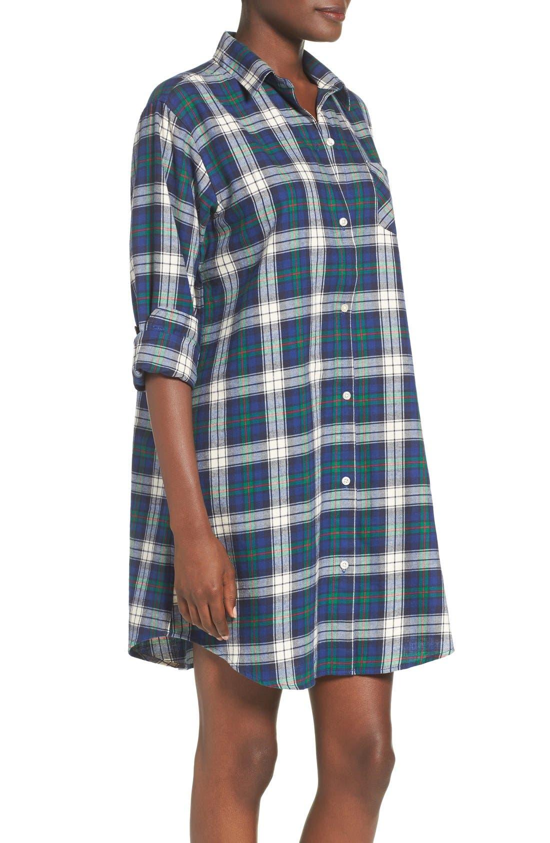 Plaid Woven Sleep Shirt,                             Alternate thumbnail 3, color,                             Plaid Cream/ Blue/ Green