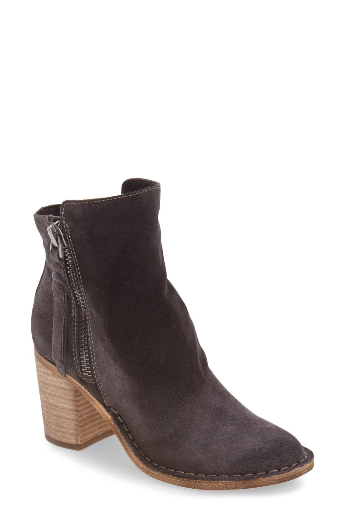'Lana' Block Heel Bootie,                             Main thumbnail 1, color,                             Anthracite Suede