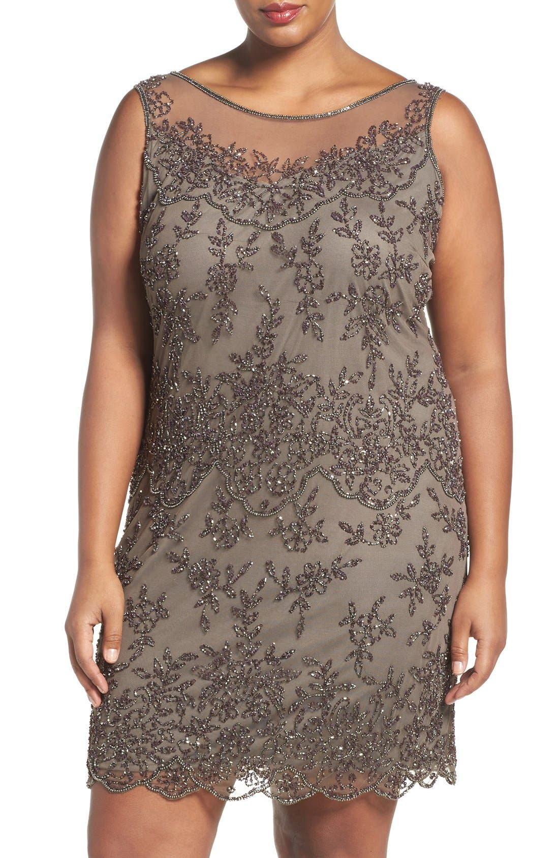 Main Image - Pisarro Nights Illusion Neck Beaded Cocktail Dress (Plus Size)