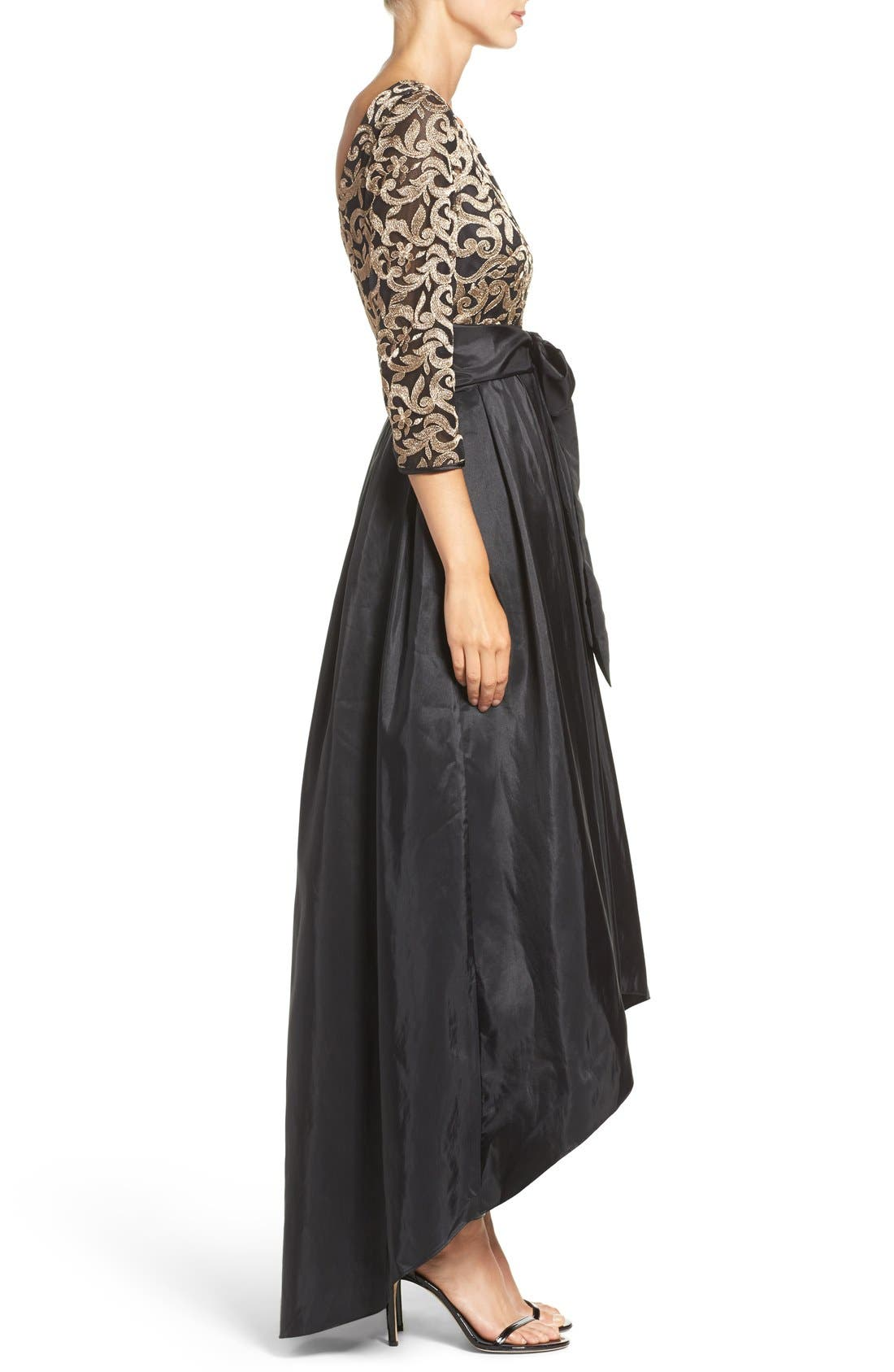 Alternate Image 3  - Eliza J Embroidered Mesh & Taffeta Gown (Regular & Petite)