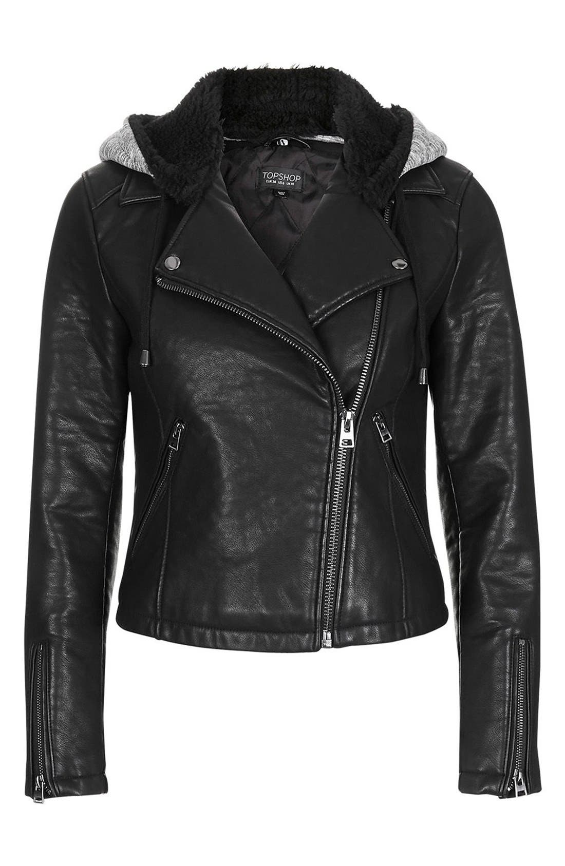Maggie Faux Leather Moto Jacket with Faux Fur Lined Hood,                             Alternate thumbnail 5, color,                             Black