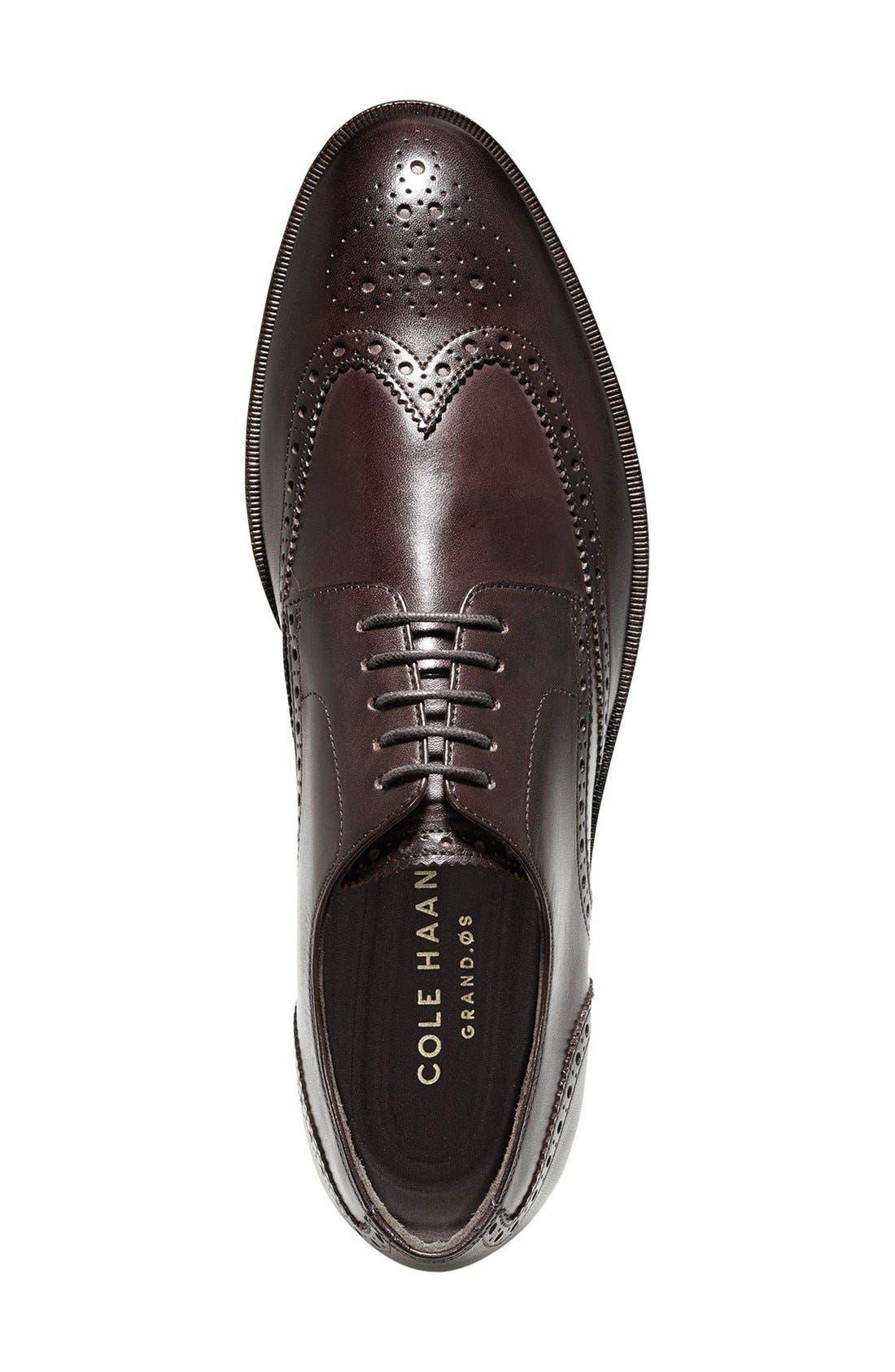 'Harrison Grand' Wingtip,                             Alternate thumbnail 4, color,                             Dark Brown Leather