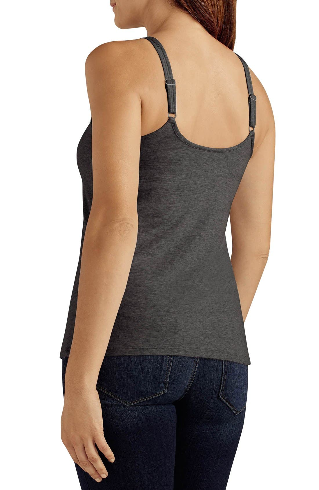 'Valetta' Pocketed Tank,                             Alternate thumbnail 2, color,                             Charcoal