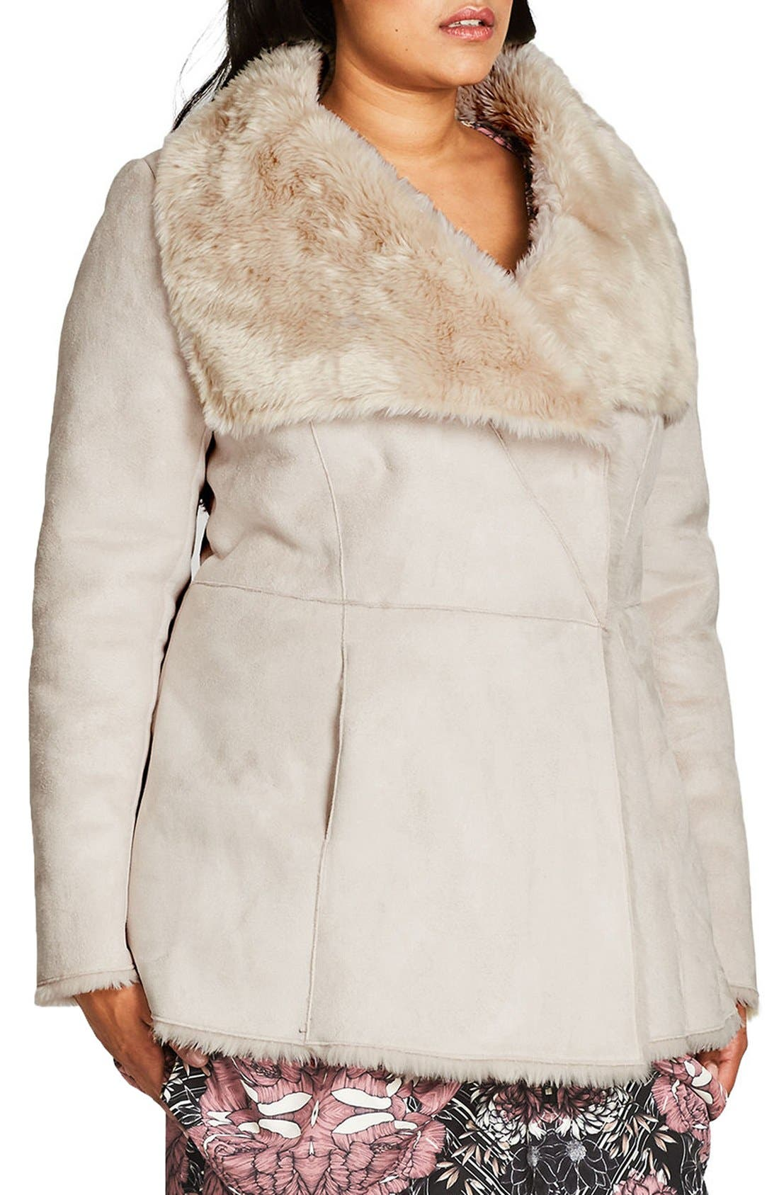 Alternate Image 3  - City Chic Faux Shearling Coat (Plus Size)