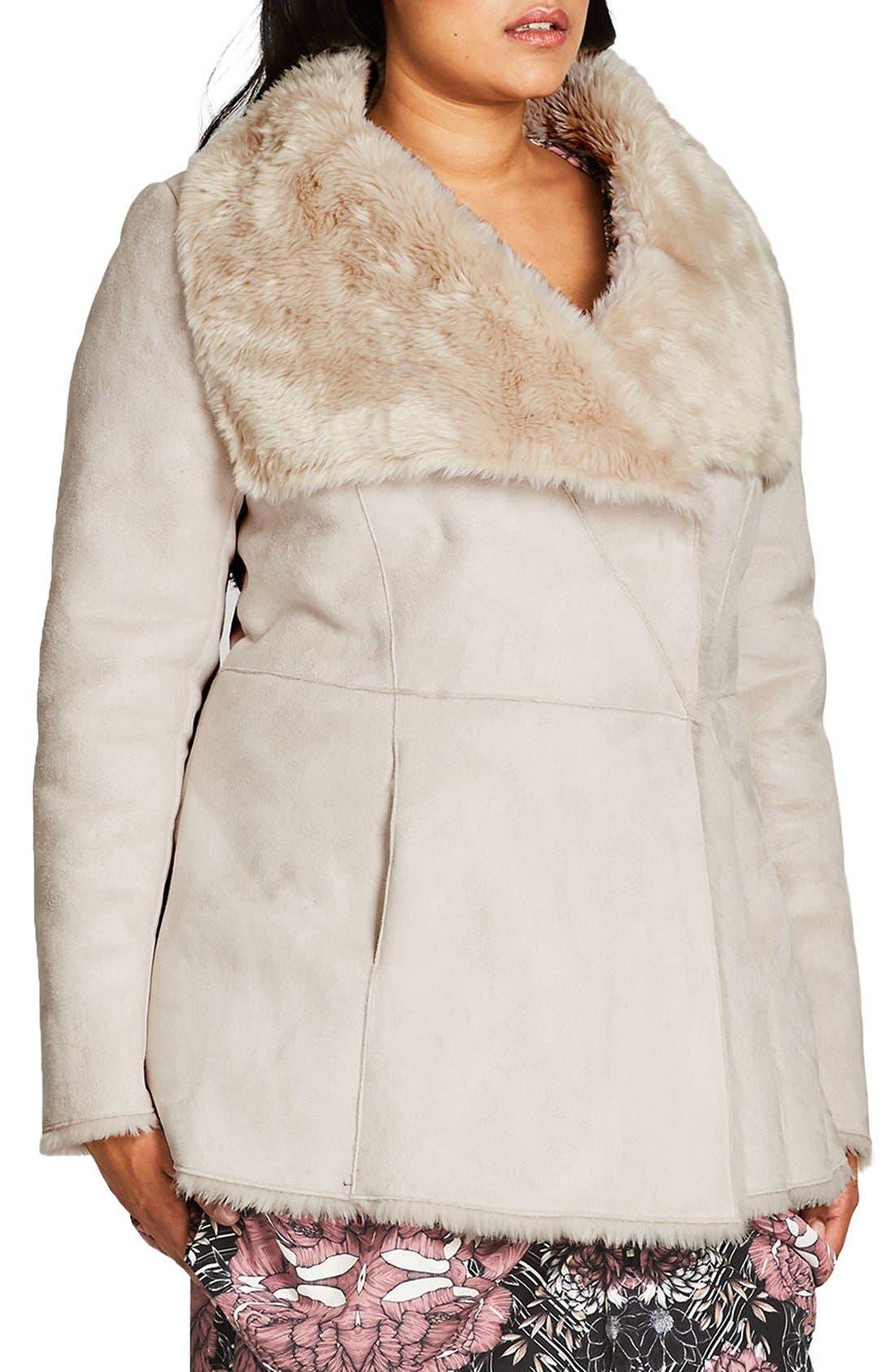 Faux Shearling Coat,                             Alternate thumbnail 3, color,                             Sand