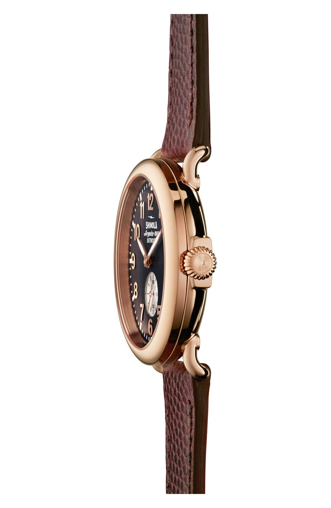 'The Runwell' Leather Strap Watch, 41mm,                             Alternate thumbnail 3, color,                             Brown/ Blue