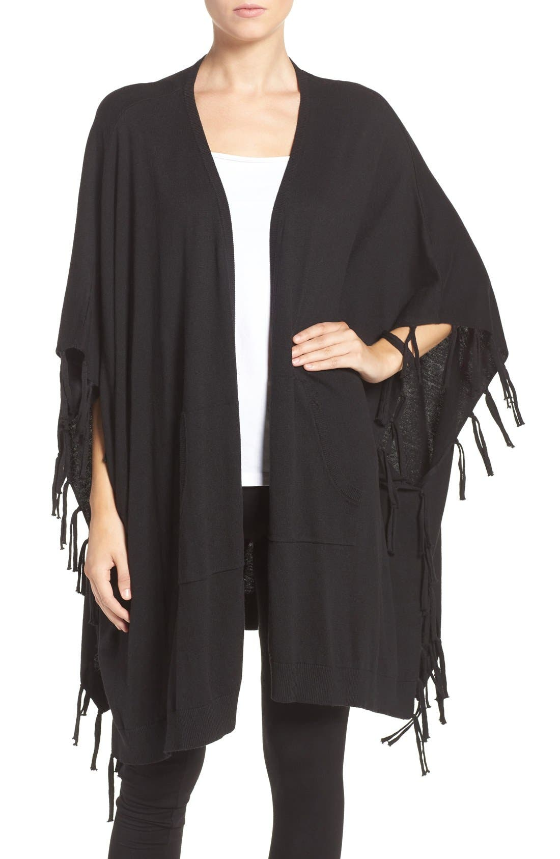 Main Image - DKNY Fringe Sweater Wrap
