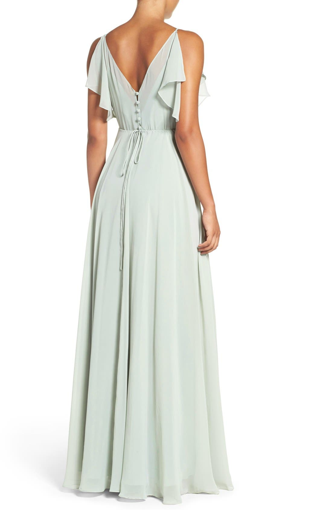 Alternate Image 2  - Jenny Yoo Cassie Flutter Sleeve Chiffon A-Line Gown