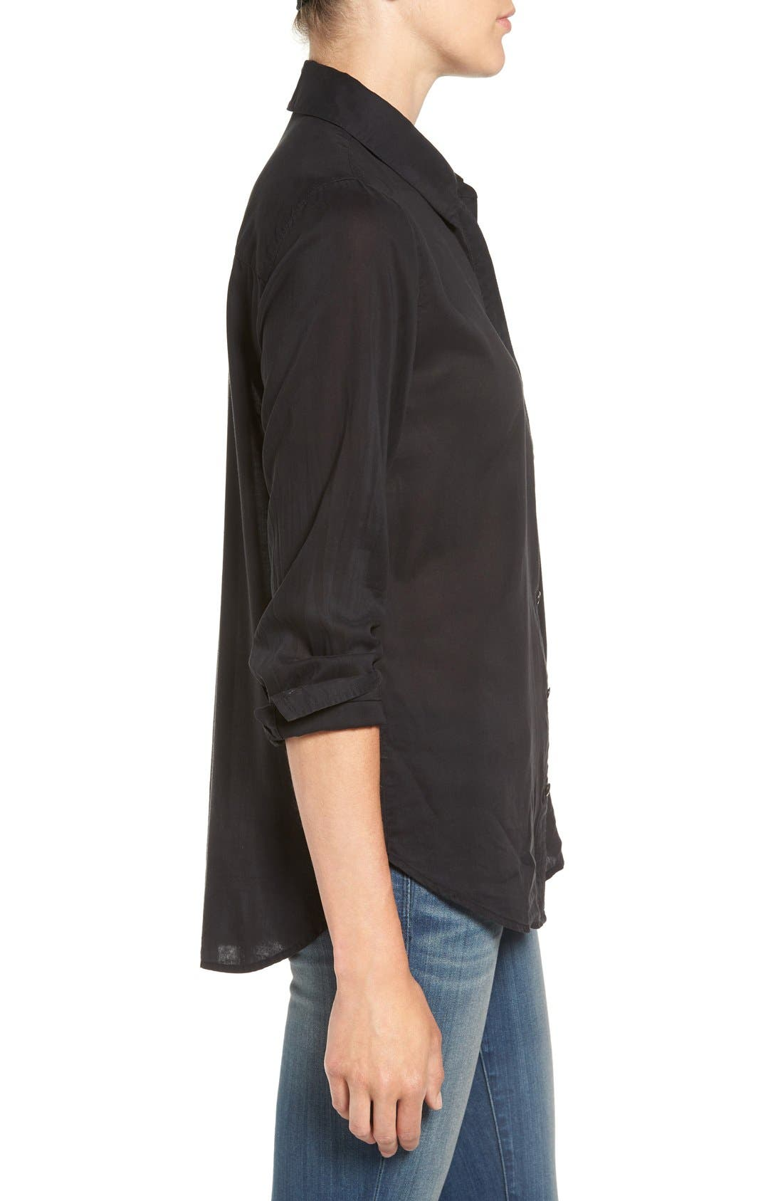 Drapey Classic Shirt,                             Alternate thumbnail 3, color,                             Black