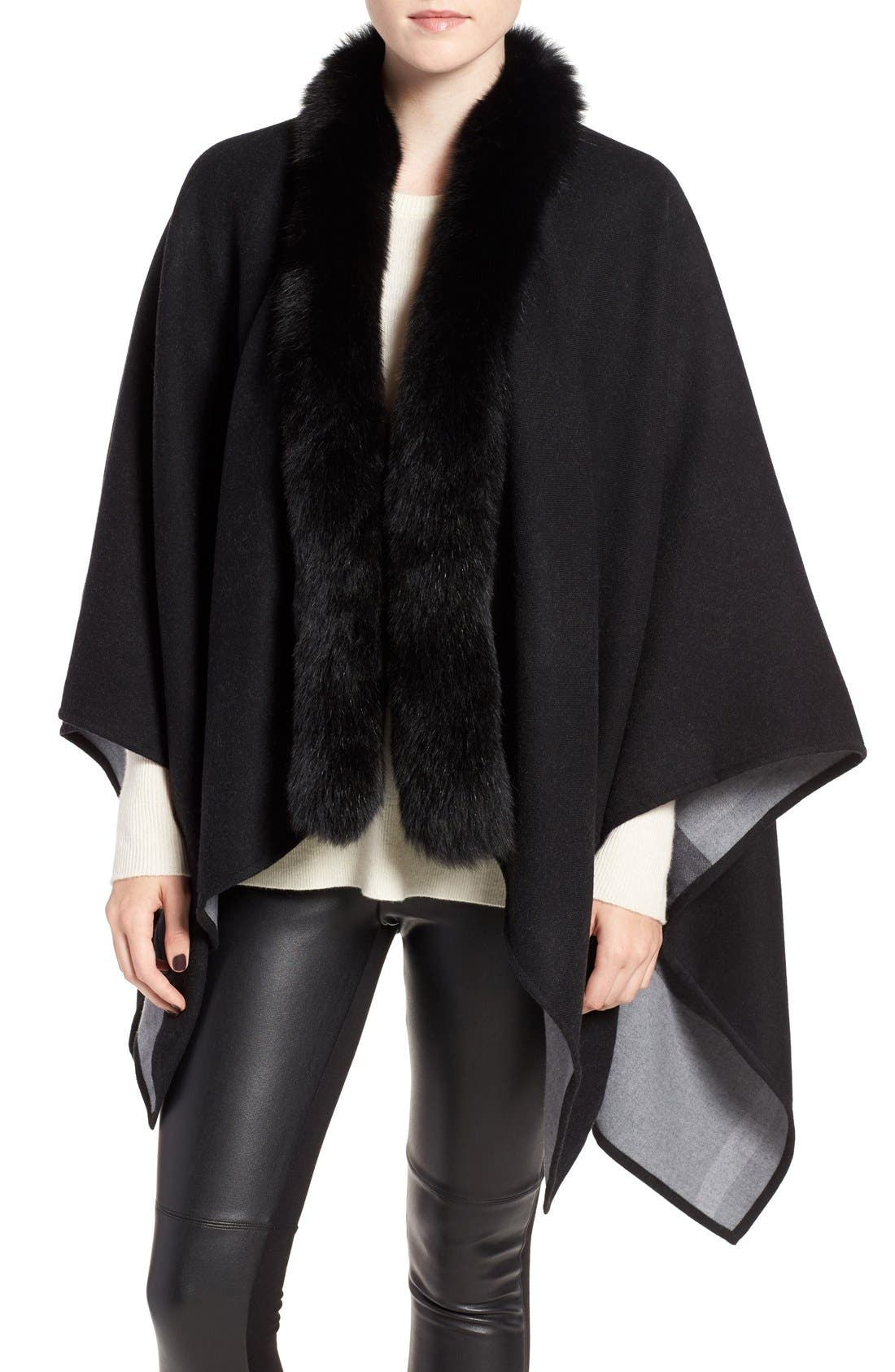 BURBERRY Merino Wool Cape with Genuine Fox Fur Trim