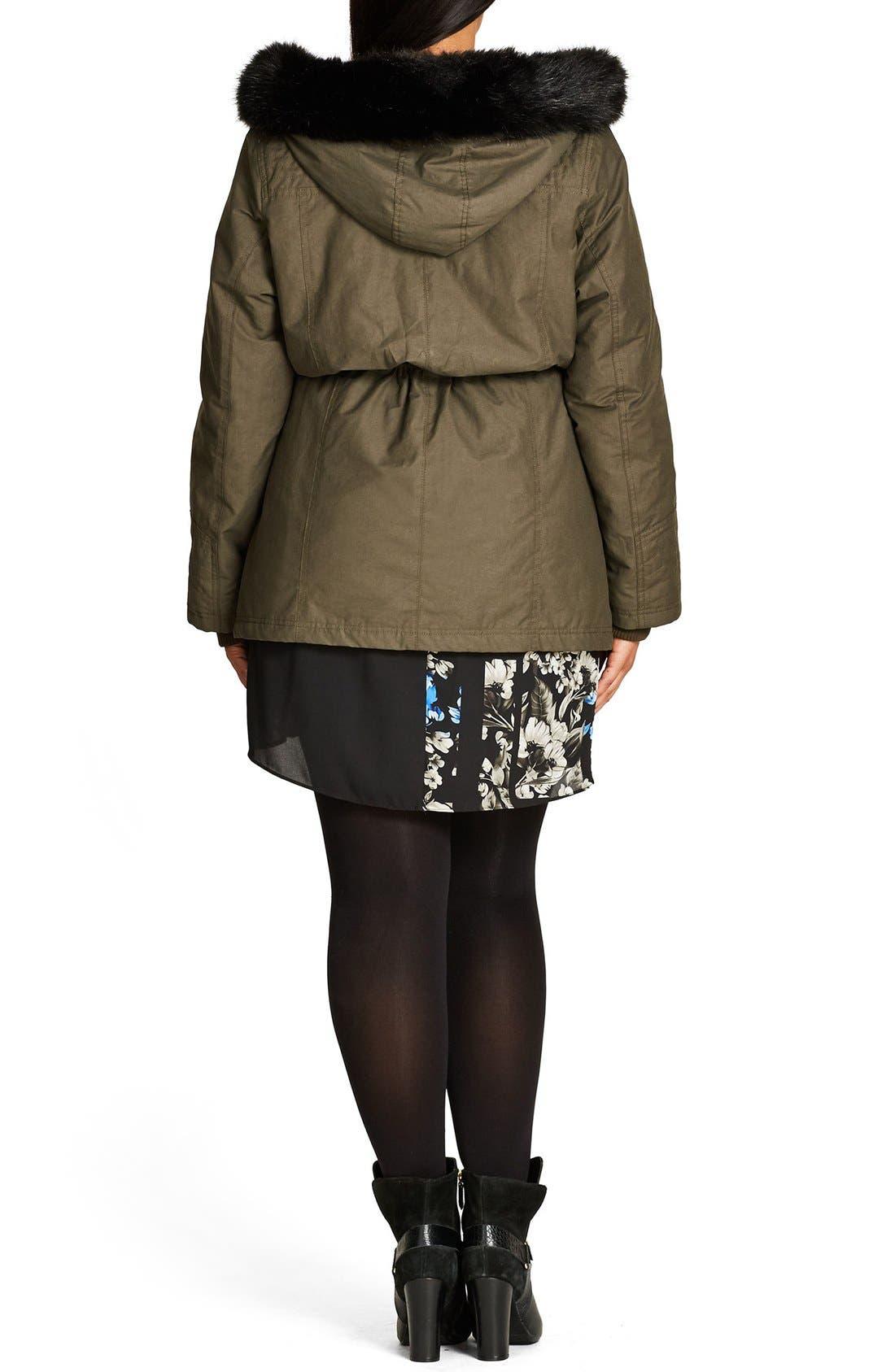 Alternate Image 3  - City Chic Faux Fur & Faux Leather Trim Hooded Drawstring Parka (Plus Size)