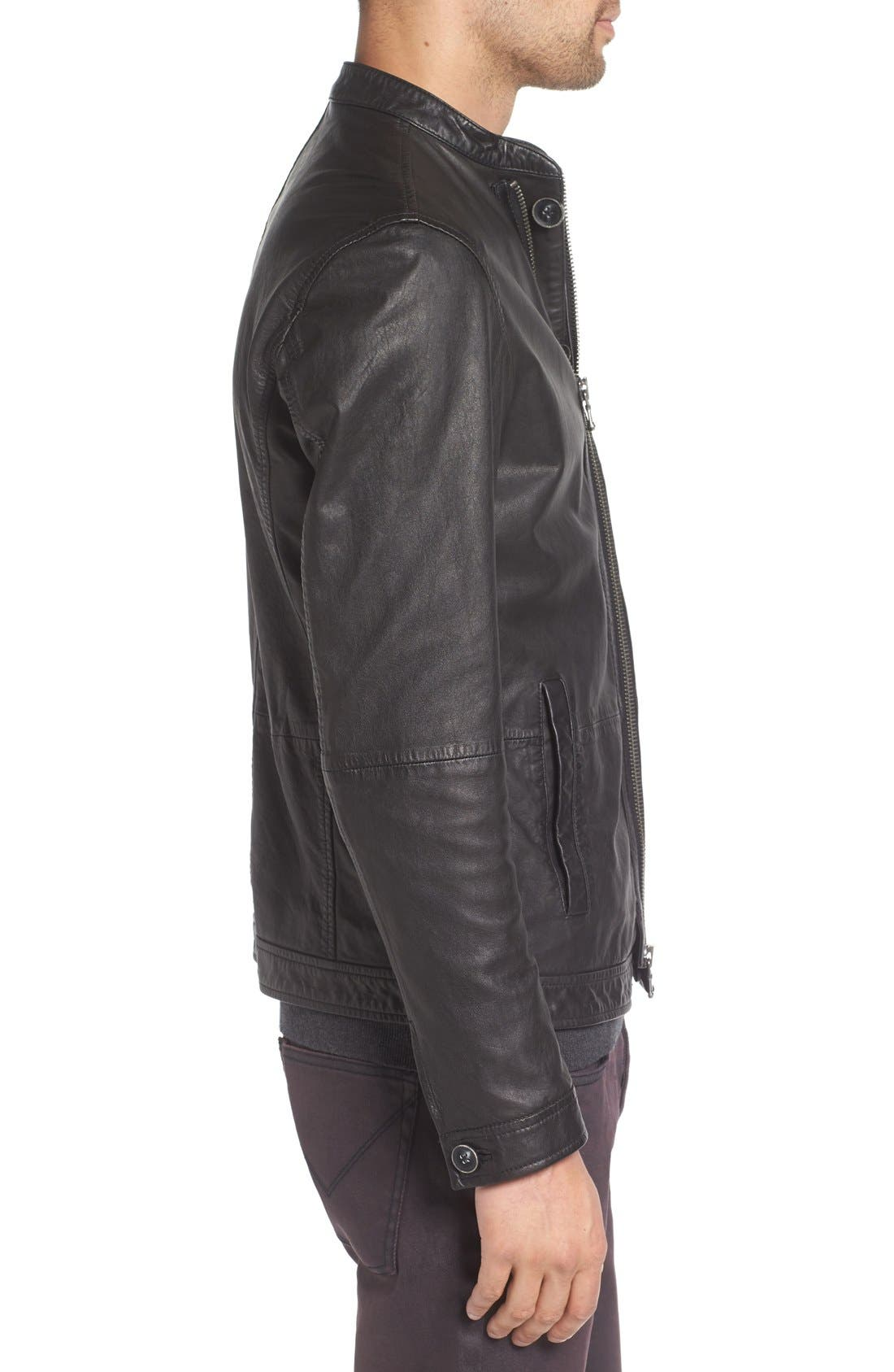 Alternate Image 3  - John Varvatos Star USA Black Leather Racer Jacket