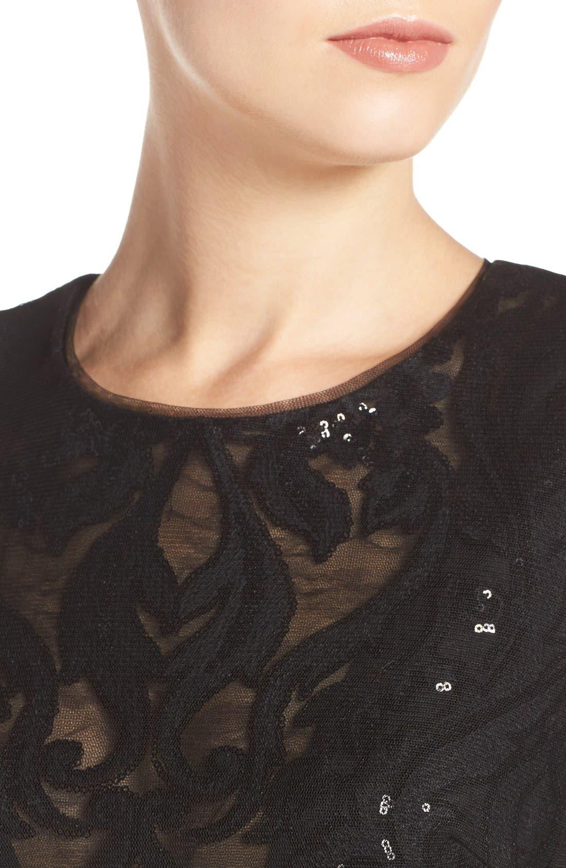 Sequin Lace & Tulle Gown,                             Alternate thumbnail 5, color,                             Black