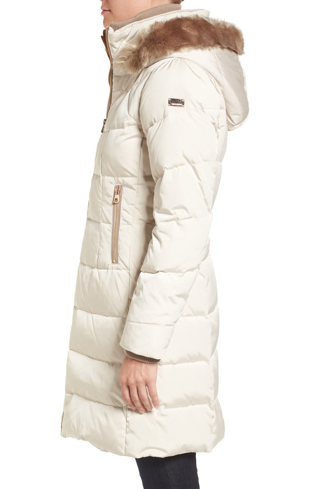 Down & Feather Fill Coat with Faux Fur Trim Hood,                             Alternate thumbnail 4, color,                             Stone