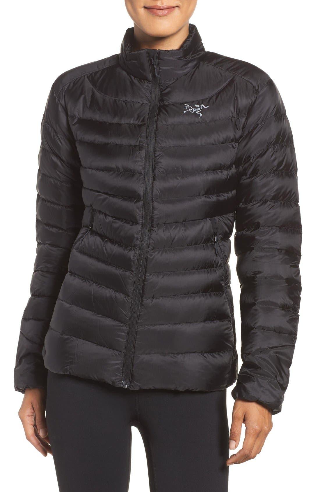 Cerium Water Resistant Down Jacket,                             Main thumbnail 1, color,                             Black