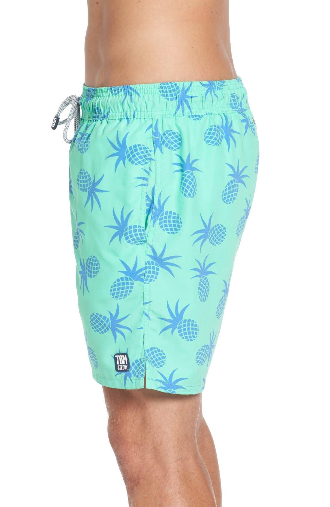 Pineapple Print Swim Trunks,                             Alternate thumbnail 3, color,                             Jade Green