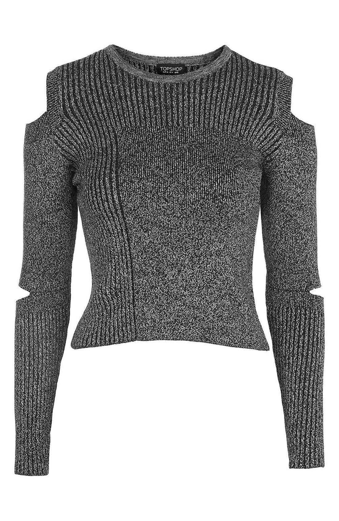 Main Image - Topshop Slash Sleeve Marled Sweater