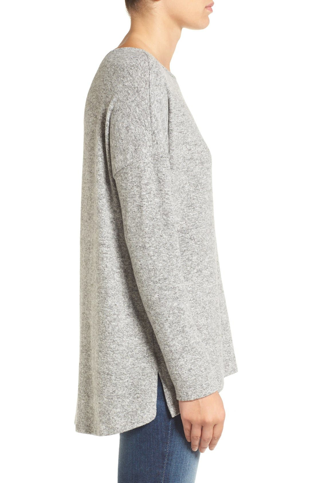 Alternate Image 3  - Gibson Cozy Fleece Ballet Neck High/Low Pullover (Regular & Petite)