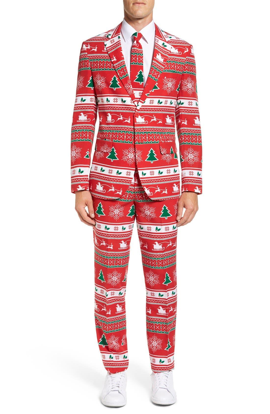 'Winter Wonderland' Trim Fit Two-Piece Suit with Tie,                         Main,                         color, Dark Red