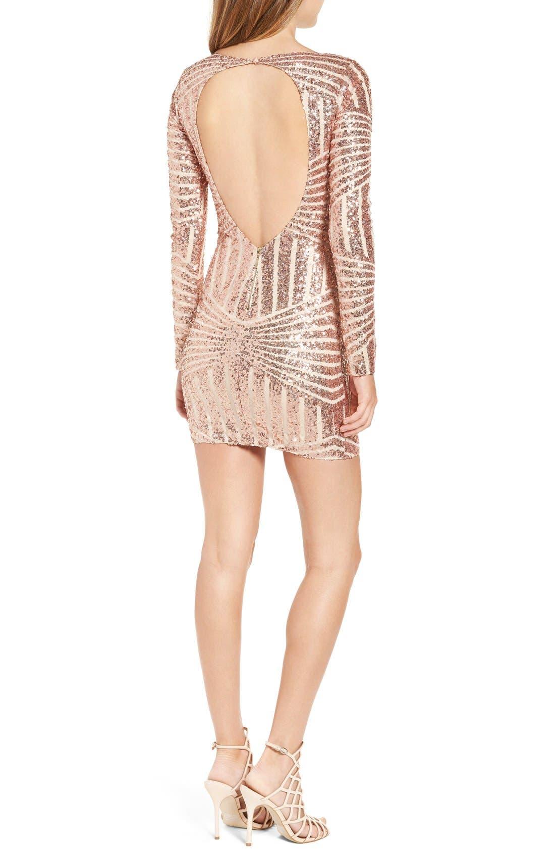 Alternate Image 3  - Bee Darlin Long Sleeve Sequin Body-Con Dress
