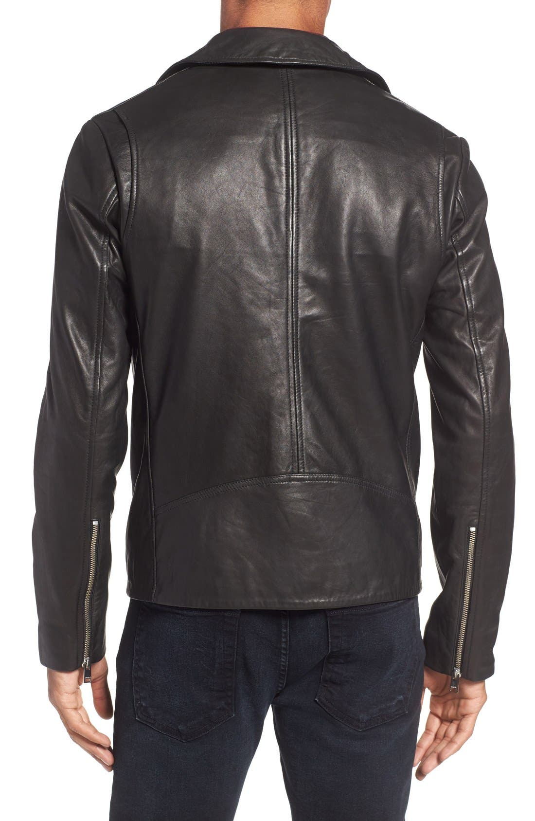 Leather Biker Jacket,                             Alternate thumbnail 2, color,                             Black