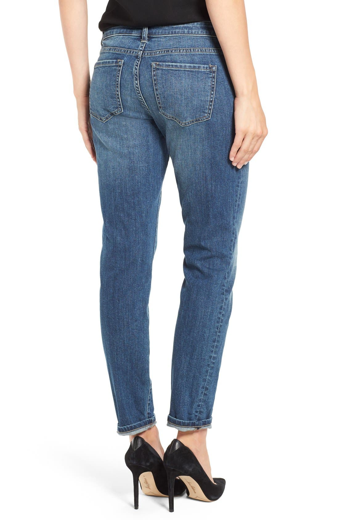 Alternate Image 4  - Caslon® Distressed Boyfriend Jeans (Indigo Tide)
