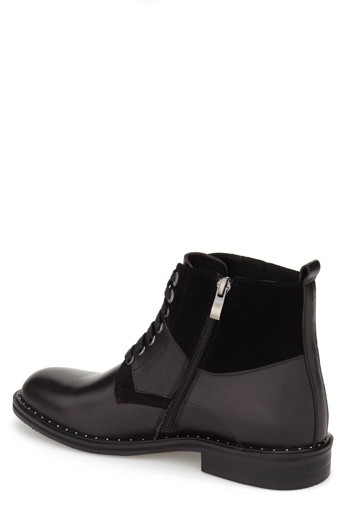 'Verona' Midi Studded Boot,                             Alternate thumbnail 2, color,                             Black