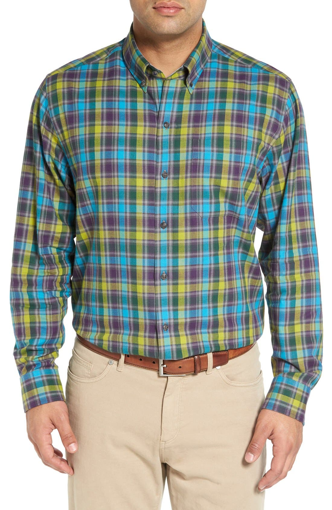 Main Image - Cutter & Buck 'Timber' Plaid Cotton Twill Sport Shirt (Big & Tall)