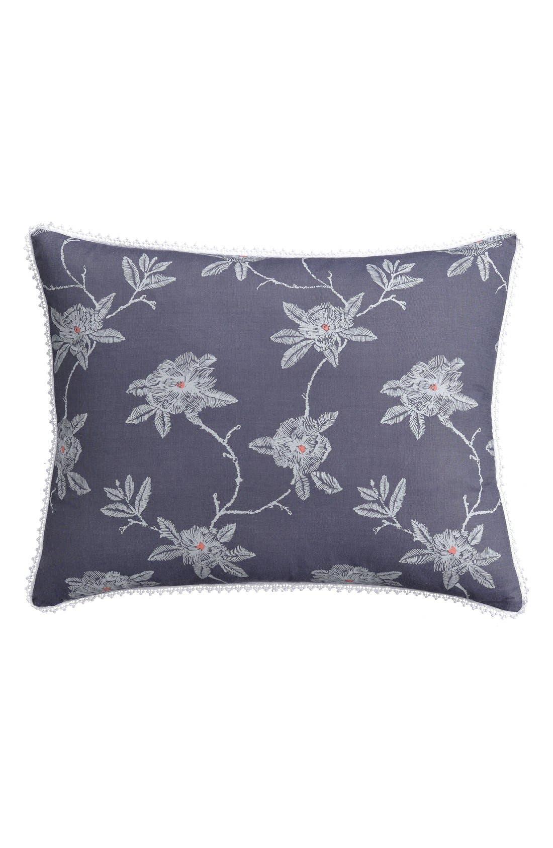 'Sketch' Floral Print Sham,                         Main,                         color, Blue