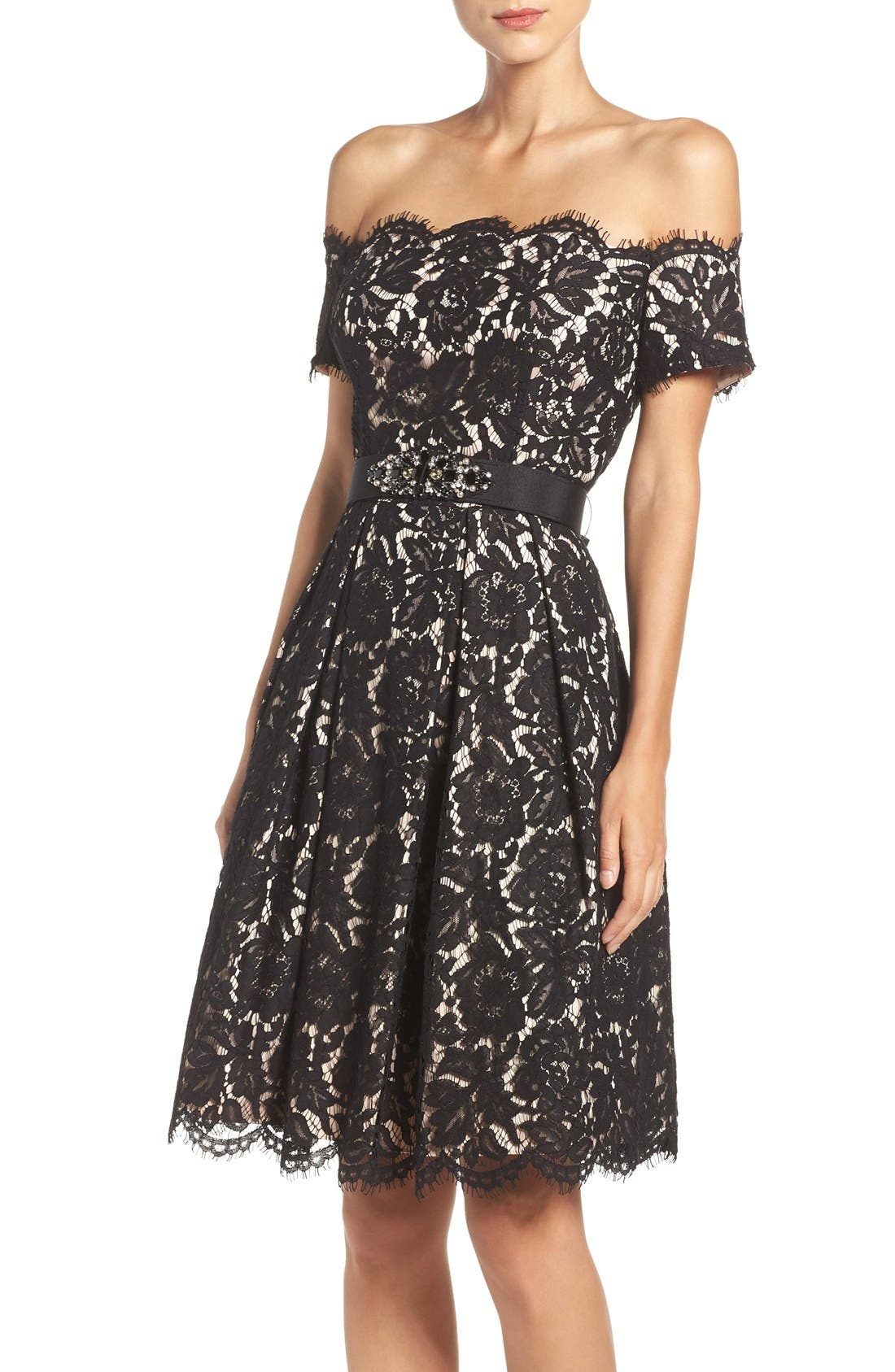 Main Image - Eliza J Embellished Lace Fit & Flare Dress (Regular & Petite)