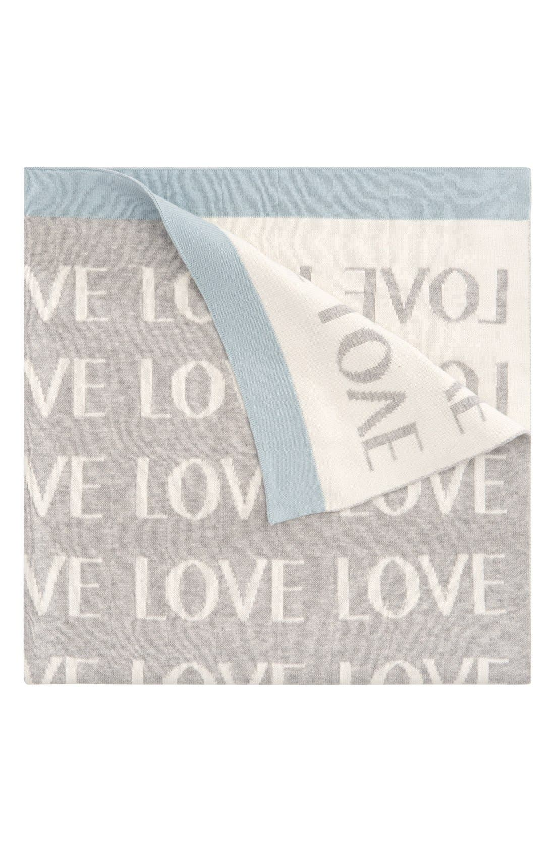 'Love' Knit Blanket,                             Main thumbnail 1, color,                             Light Blue