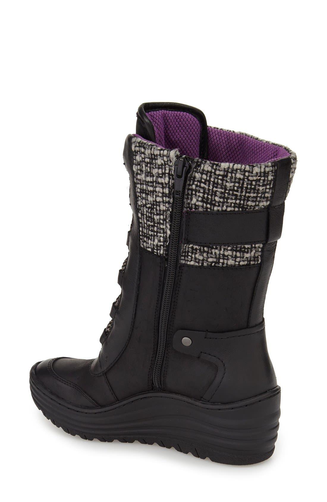 Garland Waterproof Wedge Boot,                             Alternate thumbnail 3, color,                             Black Waterproof Leather