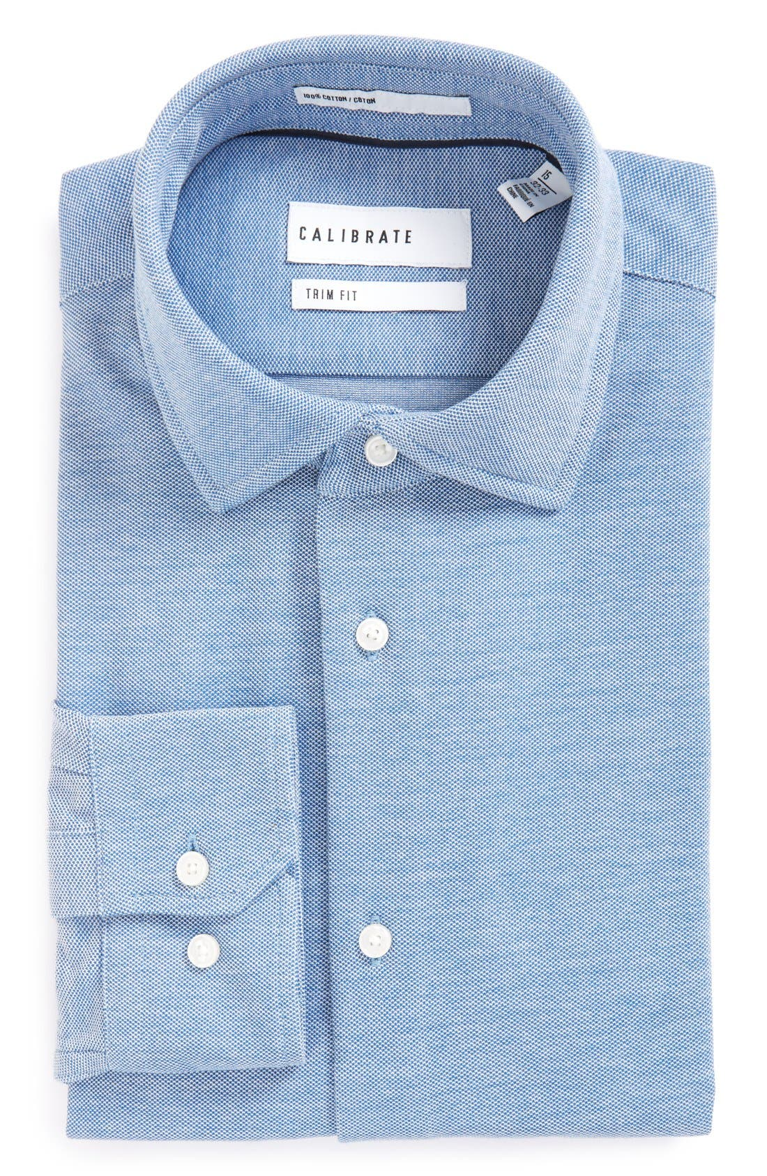Trim Fit Knit Dress Shirt,                             Alternate thumbnail 4, color,                             Blue Provence