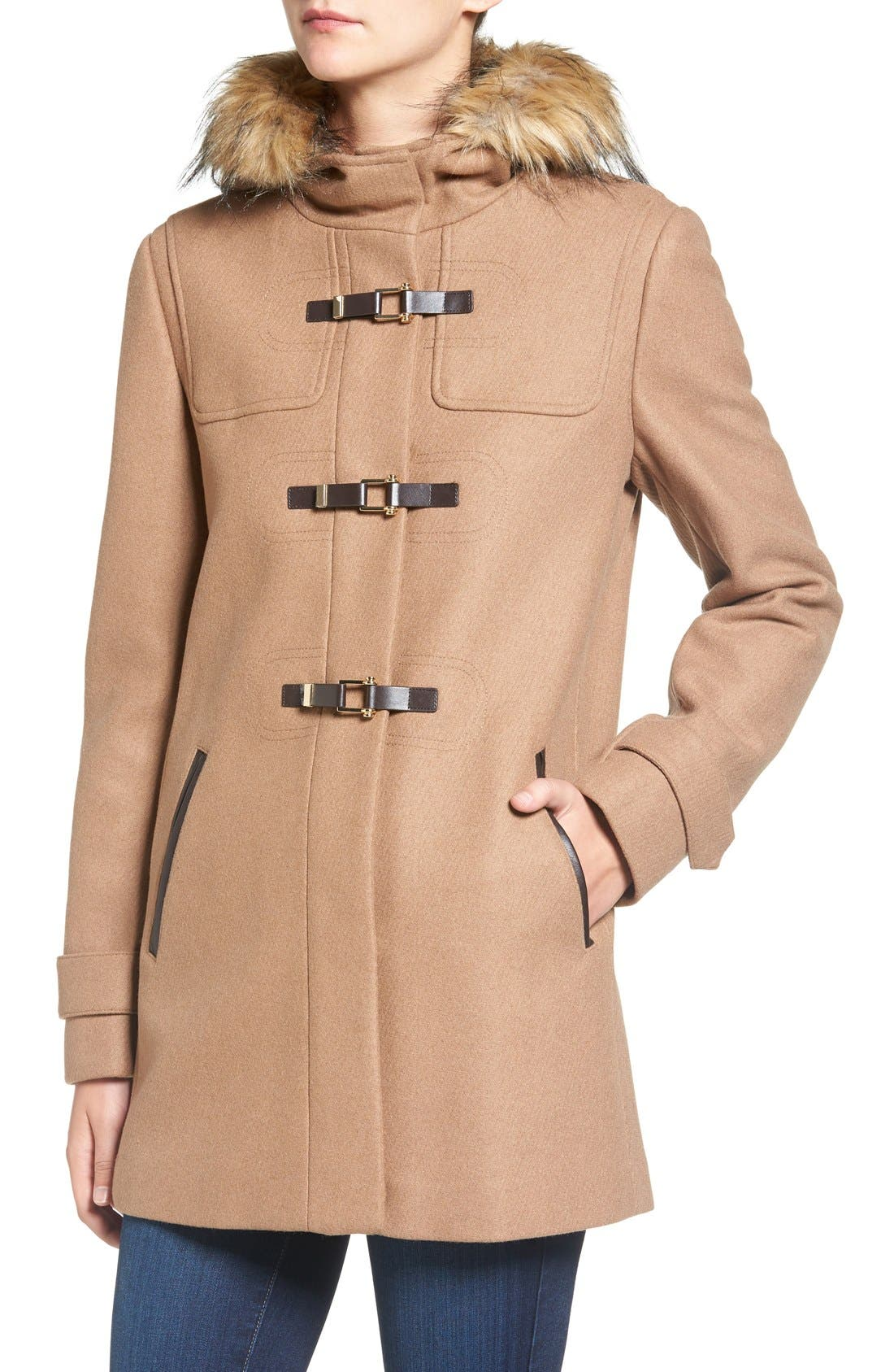 Cole Haan Hooded Duffle Coat with Faux Fur Trim,                             Alternate thumbnail 4, color,                             Camel