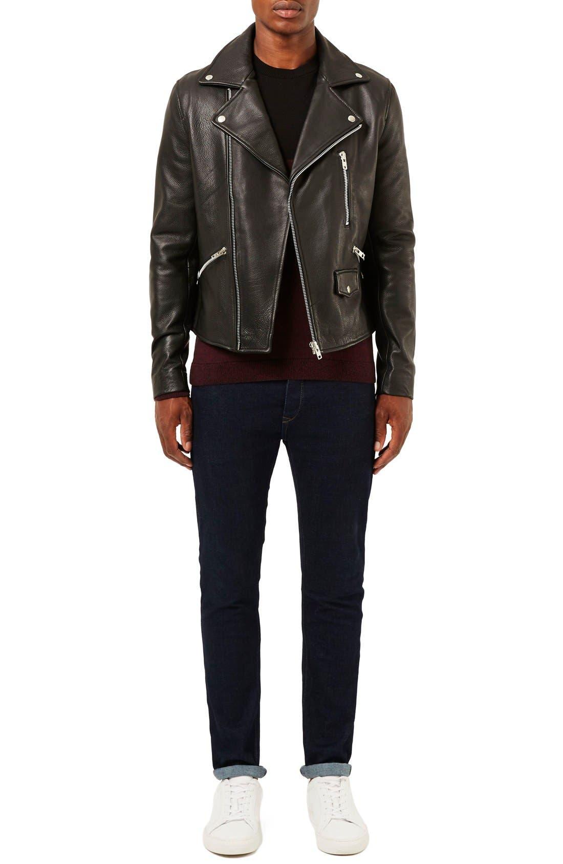 Alternate Image 2  - Topman Leather Biker Jacket