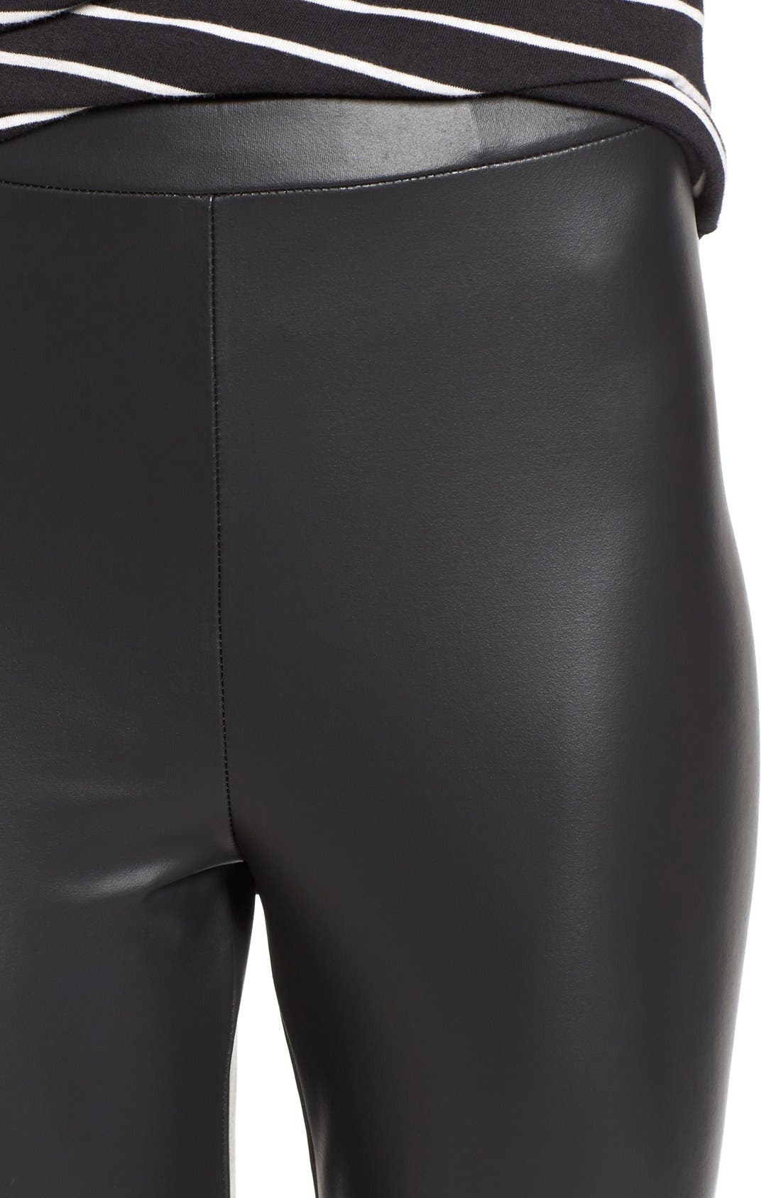 Faux Leather Leggings,                             Alternate thumbnail 4, color,                             Black