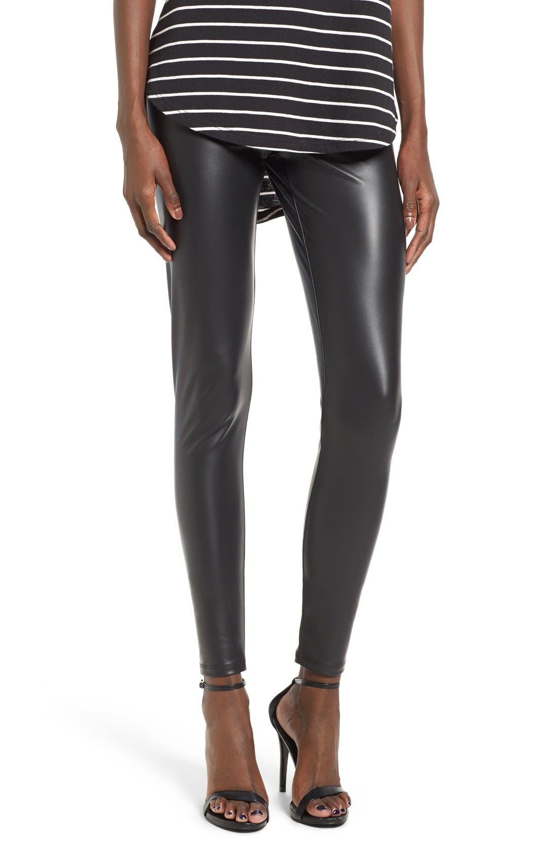 Faux Leather Leggings,                             Main thumbnail 1, color,                             Black