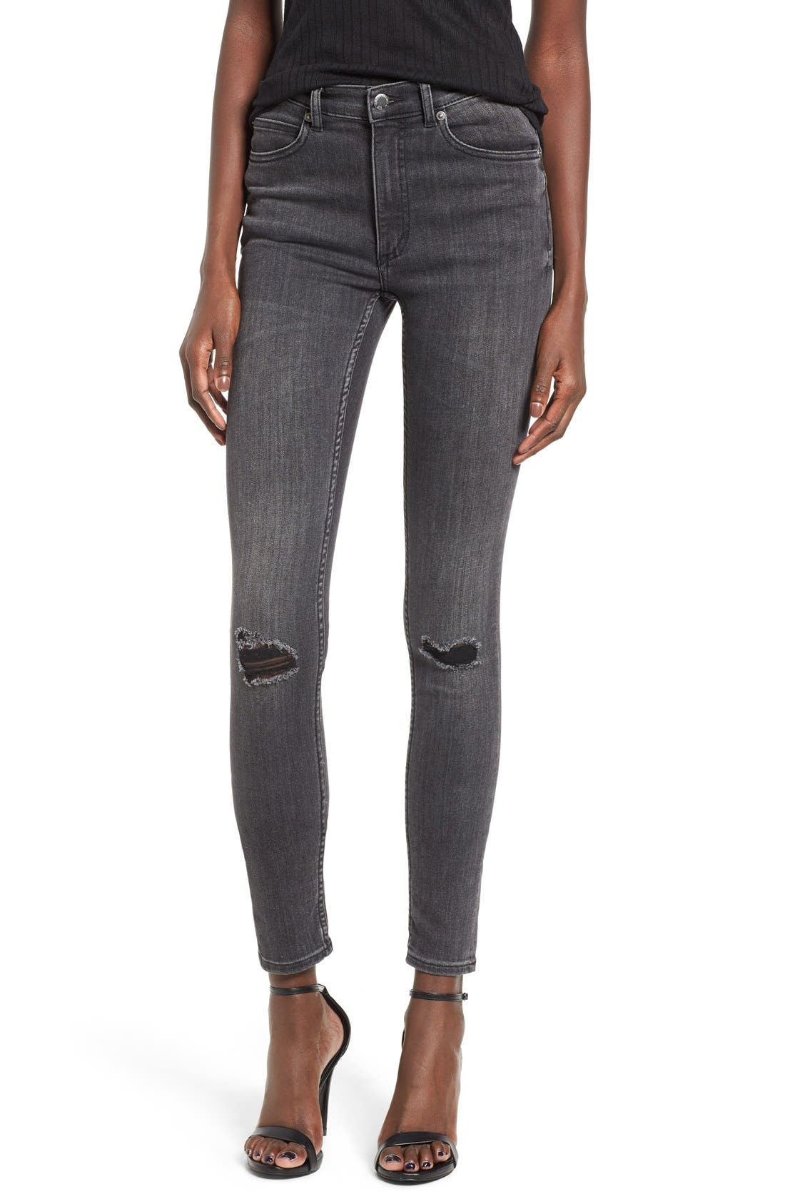 Alternate Image 1 Selected - Cheap Monday Second Skin High Rise Skinny Jeans (Shadow)