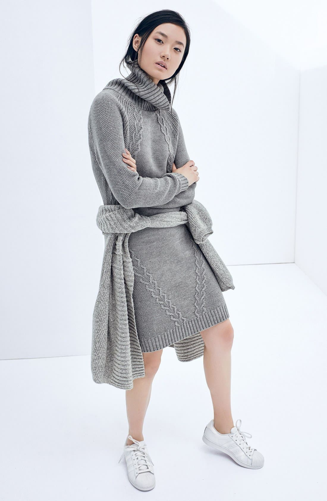 Alternate Image 7  - Eliza J Cable Knit Sweater Dress (Regular & Petite)