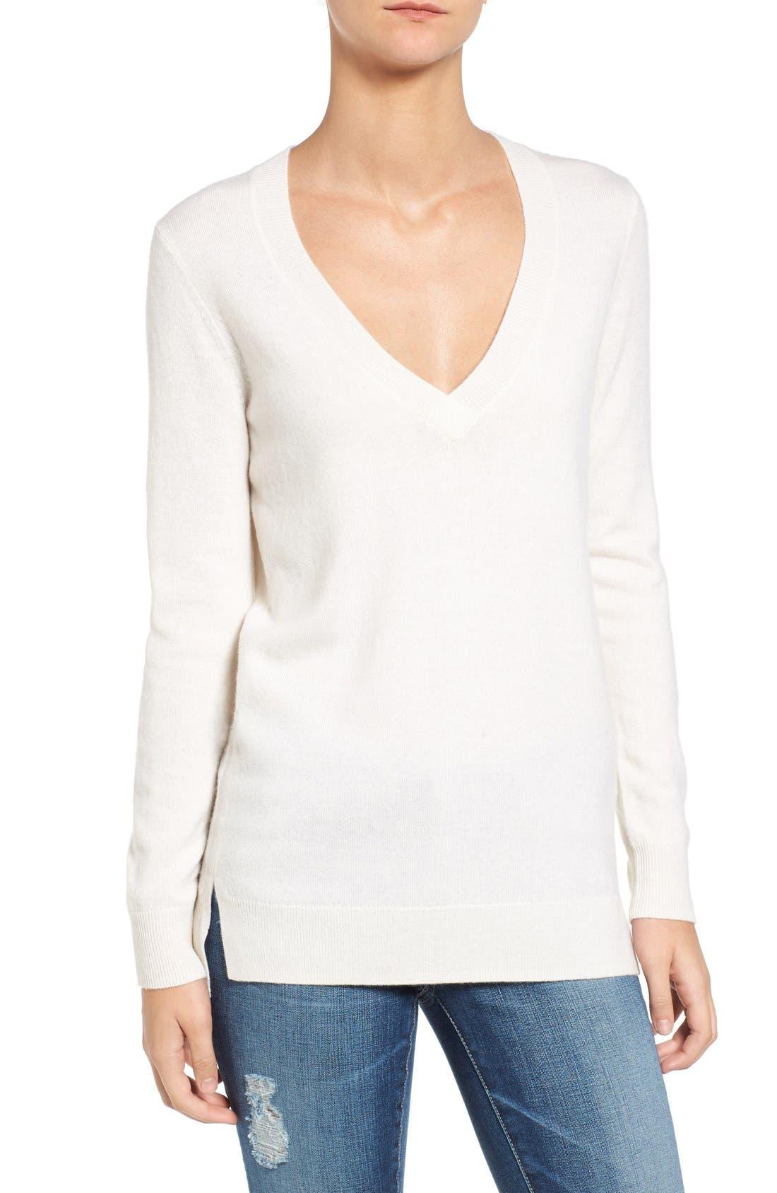 Luna V-Neck Merino & Cashmere Tunic Sweater,                         Main,                         color, Powdered White