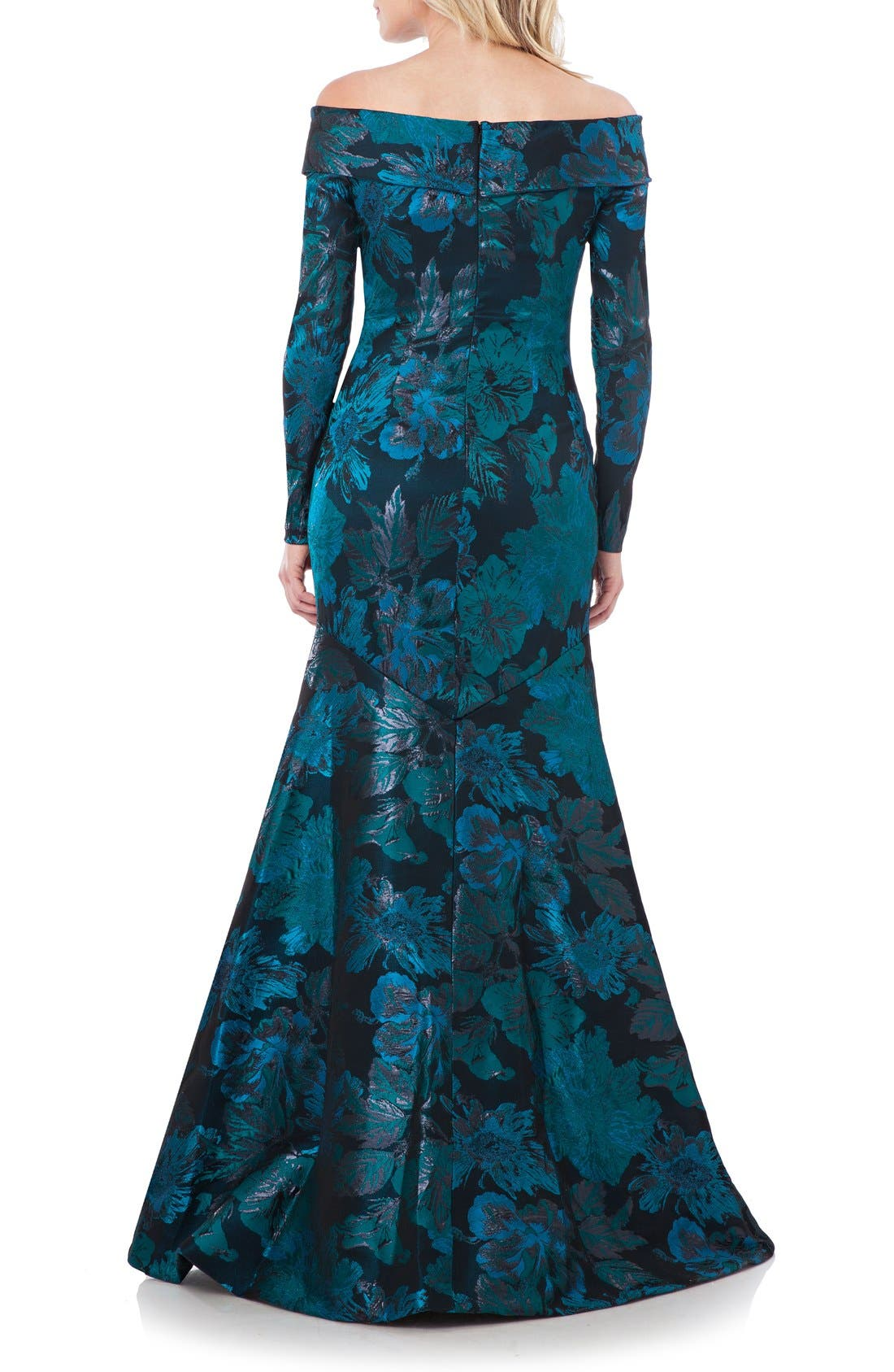 Alternate Image 2  - Theia Metallic Floral Jacquard Mermaid Gown