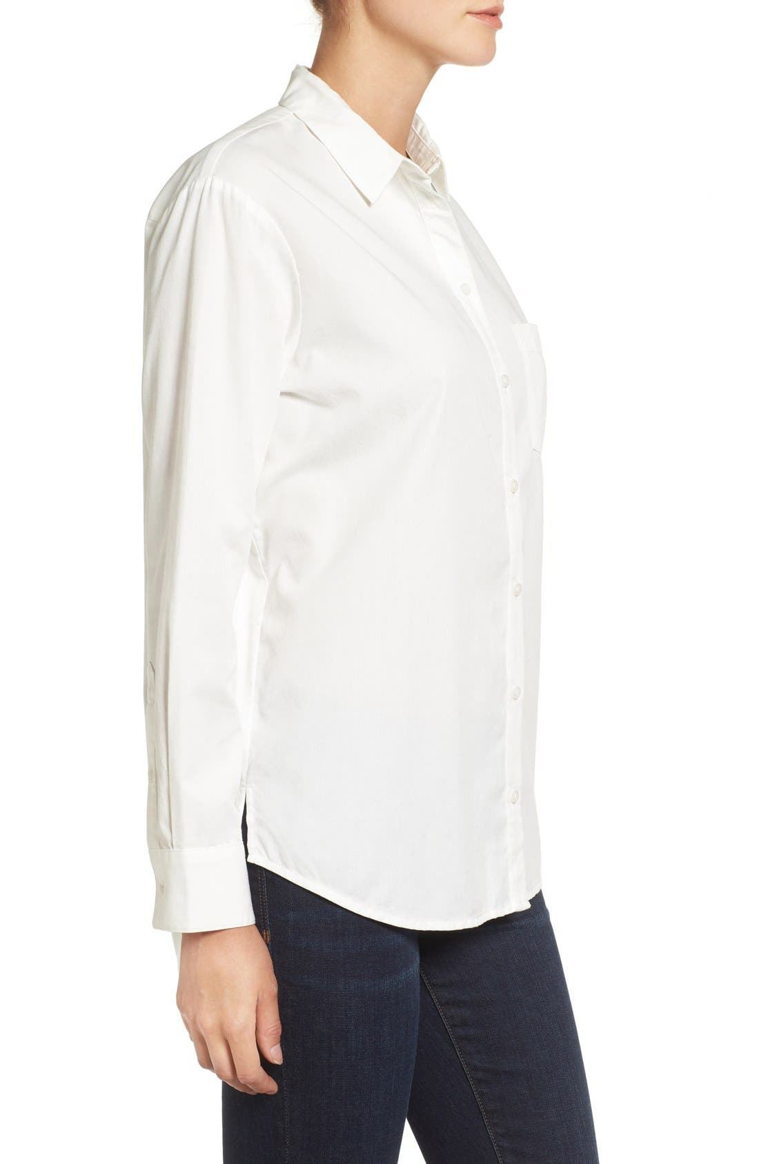 Drapey Oversize Boyshirt,                             Alternate thumbnail 3, color,                             Pure White