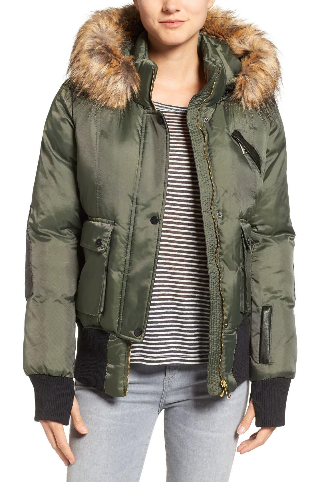 Main Image - bebe Faux Leather & Faux Fur Trim Bomber Jacket with Detachable Hood