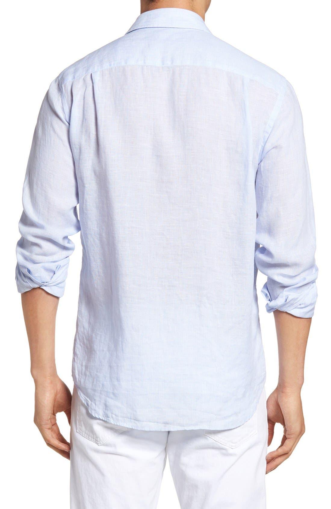 Regular Fit Linen Sport Shirt,                             Alternate thumbnail 2, color,                             Sky Blue
